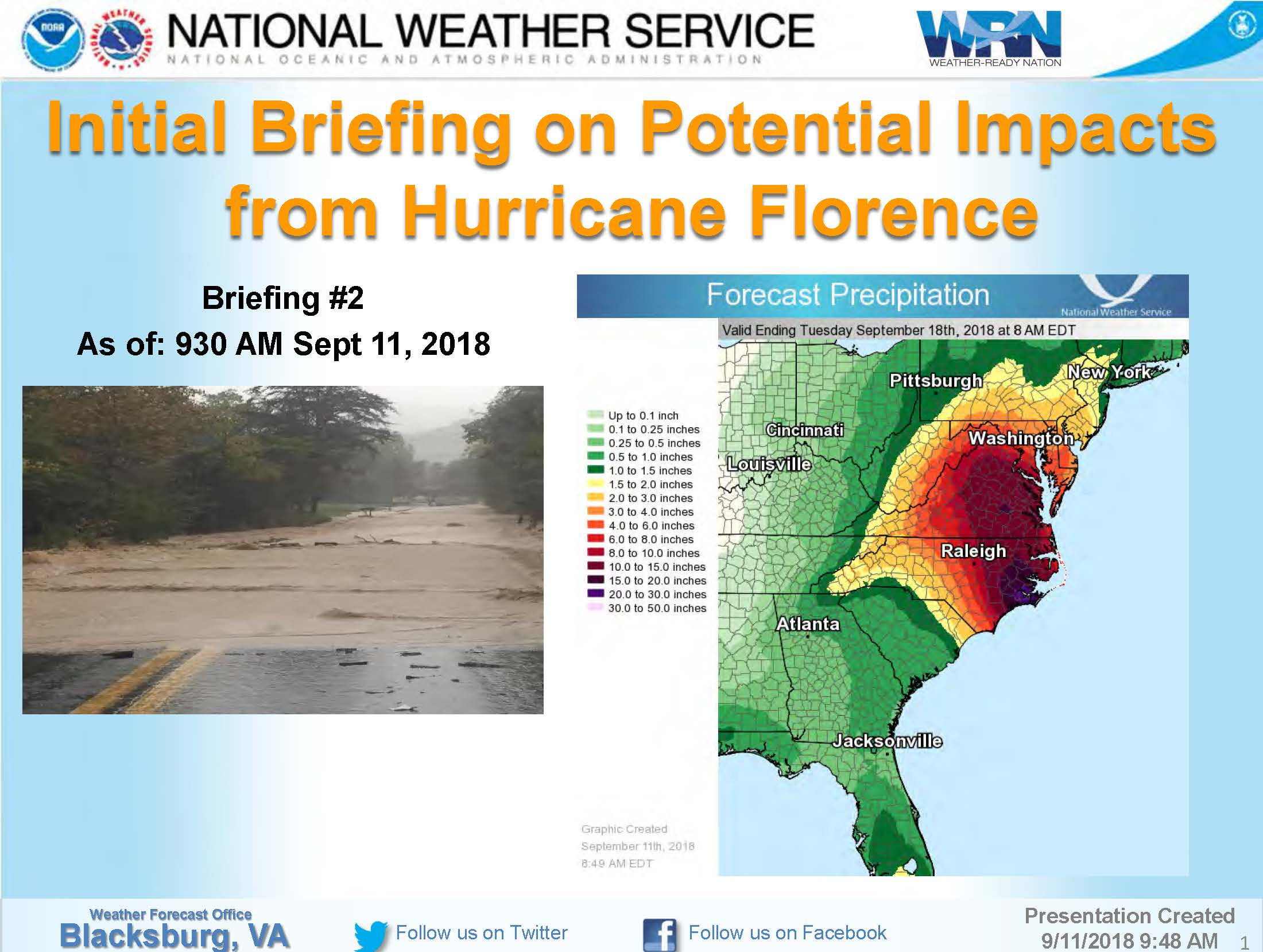 Hurricane Florence National Weather Service Update  Am