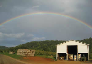 Seamans Orchard barn rainbow image